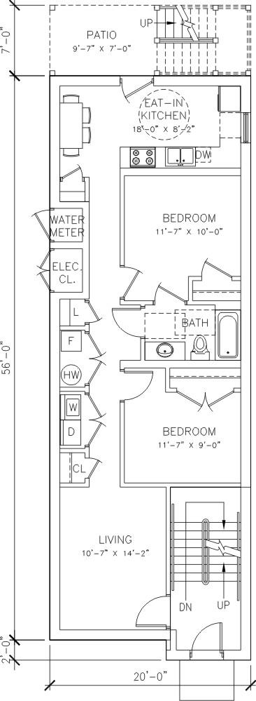 2 bedroom - 1 bath